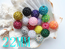 Big wholesale 50pcs/bag 20mm Mix color Round Rhinestone Pave Beads, Chunky Loose Rhinestone Bubblegum Beads !!!(China (Mainland))