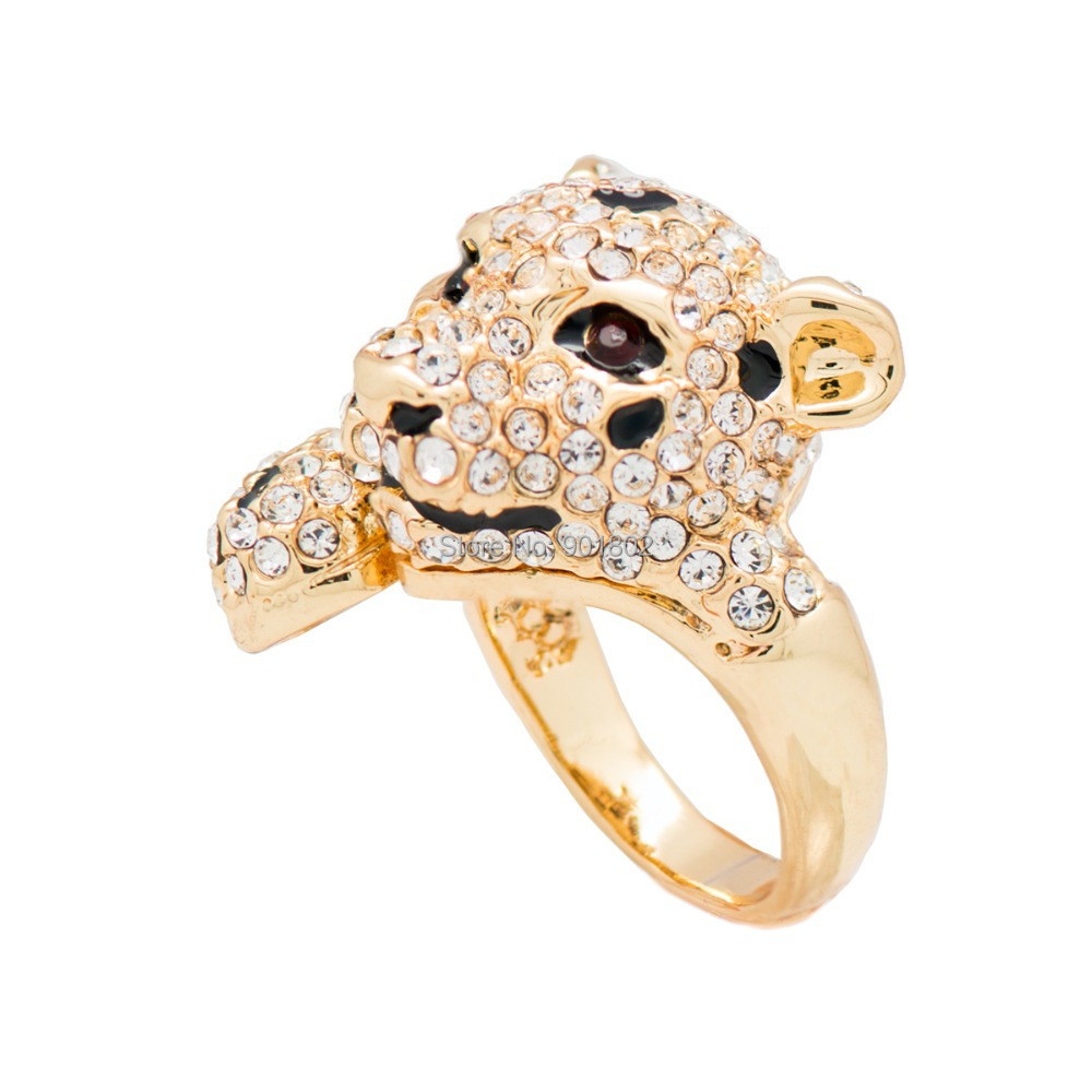 Fashion Alloy Cocktail Ring Leopard Panther Ring 6#/7#/8# W/ Clear Crystals Free shipping(China (Mainland))