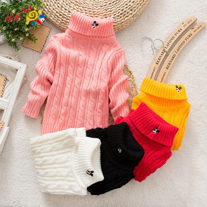 H&amp;H 2015 Newborn Autumn Winter Baby Girls Knitted Sweater Mickey Casual Bebe Boys Turtleneck Babies Sweaters Cardigans Outerwear<br><br>Aliexpress