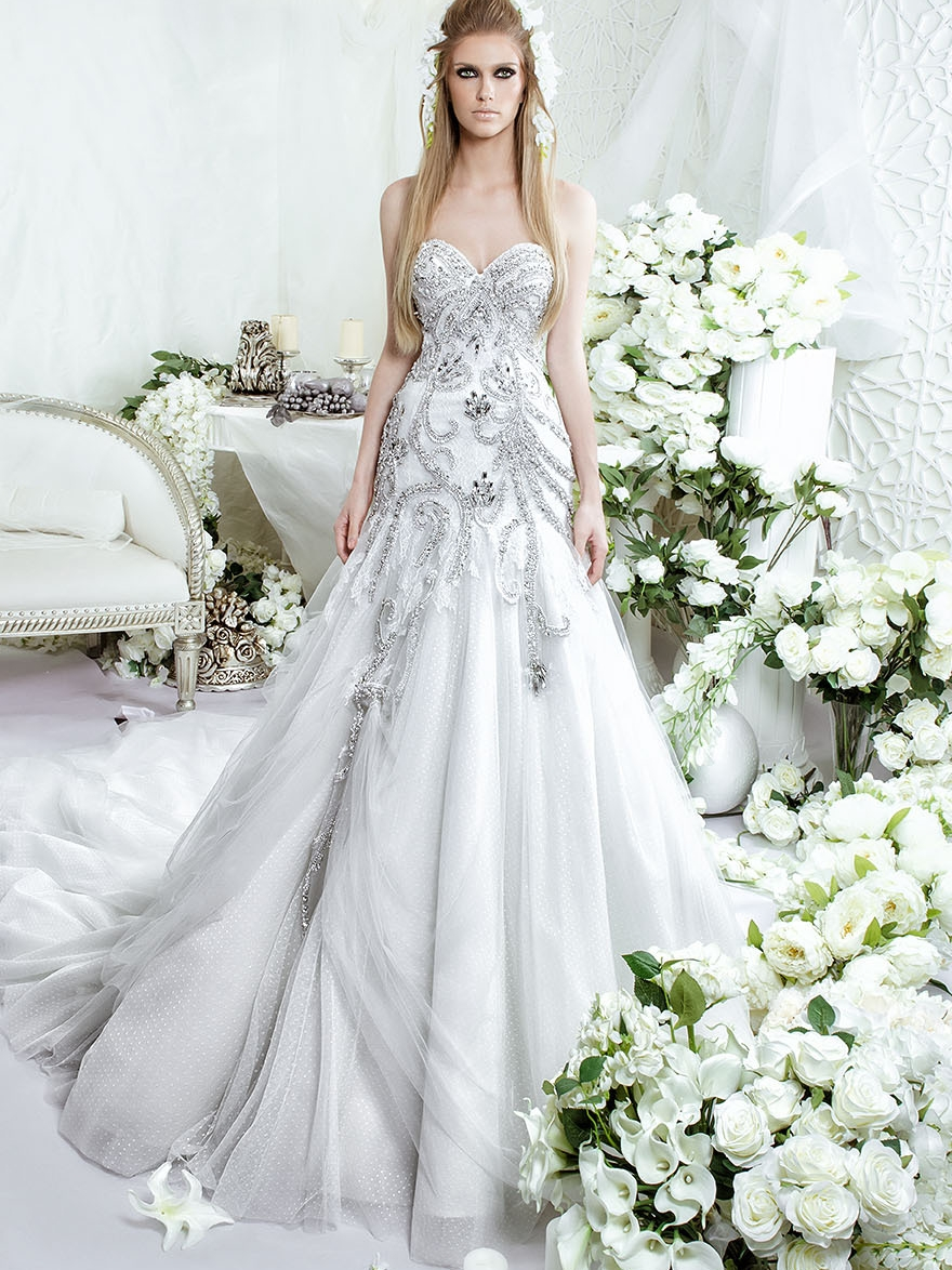 Wedding Dresses With Crystals : Sweetheart trumpet luxury wedding dresses crystals