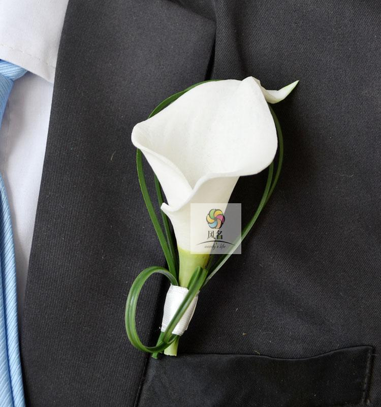 4 pcs lot Hand Made white calla lily flower Corsage Groom groomsman Wedding party Man suit