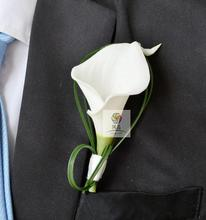 4 pcs lot Hand Made white calla lily flower Corsage Groom groomsman Wedding party Man suit men Boutonniere pin brooch decoration