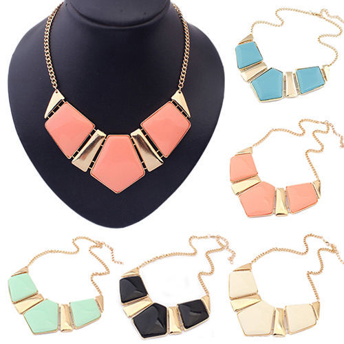 Fashion Popular Gems Necklace Vintage Bib Statement Necklace Chain Chunky Collar Party(China (Mainland))
