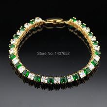 Charming Green Emerald & White Topaz Jewelry  18K Gold Plated Women Chain Bracelet  Free Jewelry Box B283(China (Mainland))