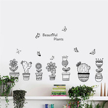 Diy цветочный горшок с бабочкой наклейки на стену для офиса магазина основная доска для украшения дома Diy пасторальные настенные наклейки(Китай)