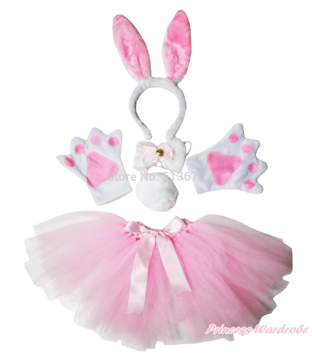 Easter Halloween Party Kids Pink Bunny Headband Paw Tail Bow Gauze Skirt Costume(Hong Kong)