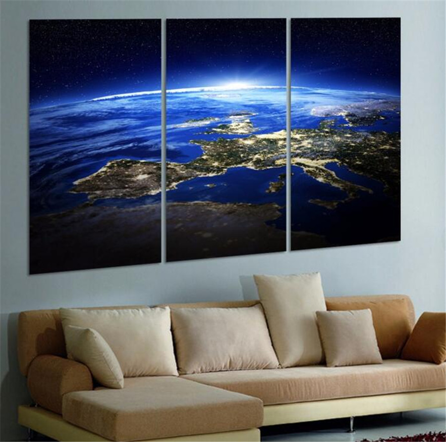 3 Panel Modern Sunrise Space Universe Picture Wall Decor Canvas Art Home For Living Room