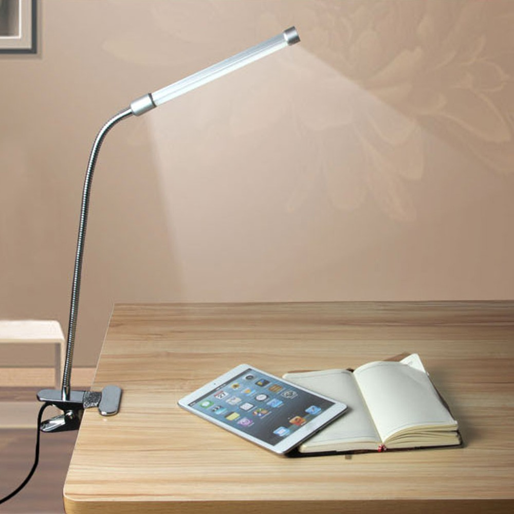 Excelvan Flexible USB Clipper Clip on Adjustable Multi-Angles LED Lamp Eye Protection Reading Light Desk Table Lamp Silver(China (Mainland))