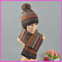 Sweet Girl winter style unisex dots design new arrive thick warm knitted scarf hat sets(China (Mainland))