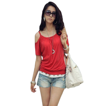 Korean Shirt Women Fashion Sexy t shirts Strap Off Shoulder Scoop Neck Short Sleeve Loose Women Tops Casual women's t shirts