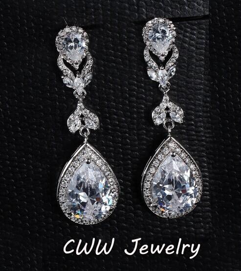 Элегантный 5.2 см воды падение-образные AAA + циркон алмазный кристалл люкс длинные серьги свадебные Jewerly для невесты CZ166