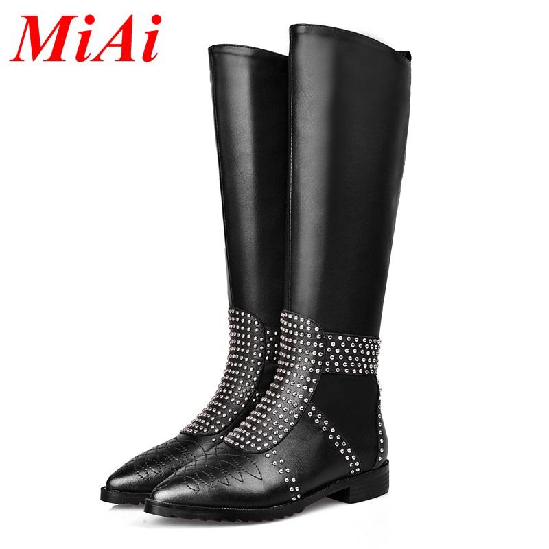 Здесь можно купить  2015 genuine leather pointed toe shoes woman knee high boots zipper black brown woman winter long boots women  33-43 Ma Dingxue  Обувь