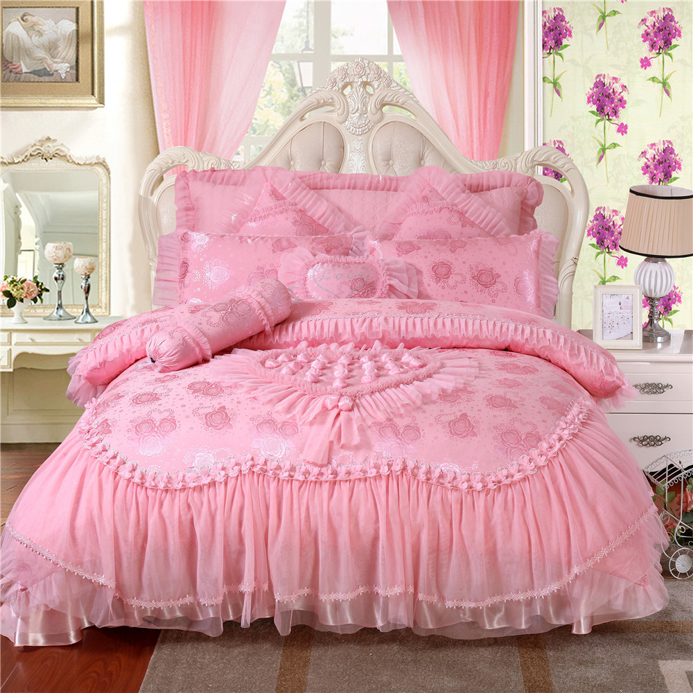 100 Satin Jacquard Bedding Sets Rose Silk Embroidery