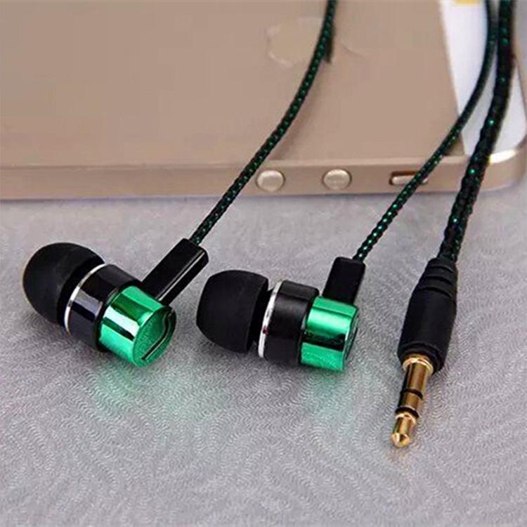 Fashion Earphone MP3/mp4 Roping Stereo 3.5mm Subwoofer In Ear Headset Earbud 1.1M Reflective Fiber Cloth Line Metal Earphone