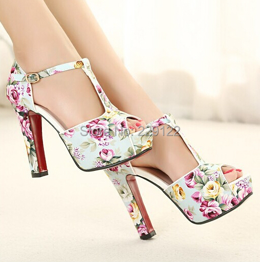 2015 Summer Shoes Women's Floral Print Platform Peep Toe Ankle Strap High Heels Sandals Ladies Party Pumps Valentine shoes - JiuYang Fashion Jewelry & Clothing store