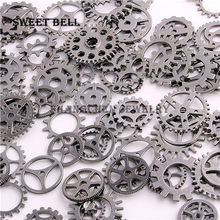 SWEET BELL Mix 100 pcs 9 color Steampunk Charms Gear Pendant Antique bronze DIY Metal Jewelry Making D0352-2(China)
