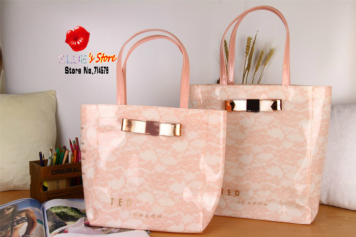 FREE SHIPPING new pink butterfly ted women handbags botanical bloom bow candy jelly bag lace ted black pvc shopping bag M,L size(China (Mainland))