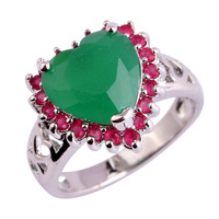 Heart Love NRuby Emerald 925 Silver Ring Size 6 7 8 9 10 11 12 Women Wedding Engagement Luxury Jewelry New Present Wholesale