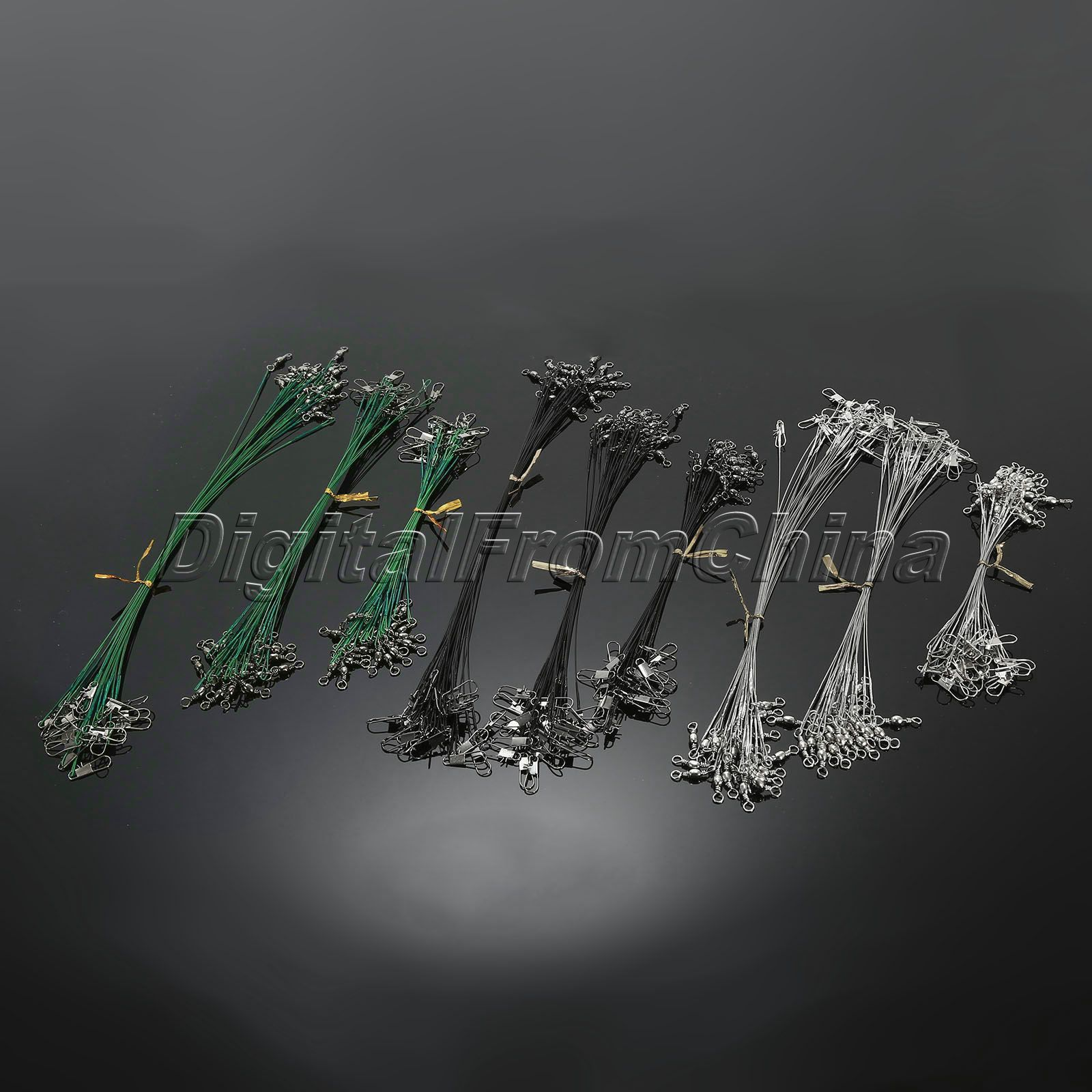 2016 High Quality 72pcs/pack Silver,Green, Black Fishing Trace Lures Leader Stainless Steel Wire Spinner Line 15cm 23cm 27cm(China (Mainland))