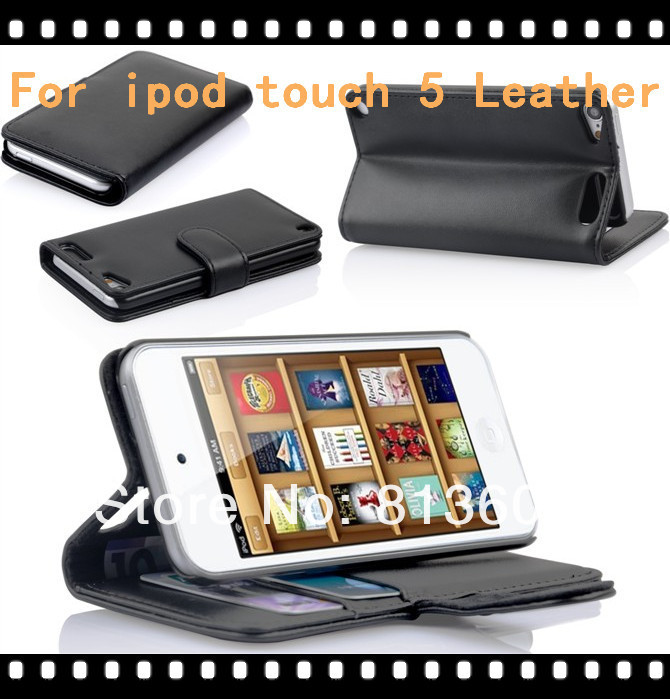 Free DHL ,Luxury Wallet Leather Book Case For Apple Ipod touch 5 Credit Card Stand Cover,High Quality(China (Mainland))