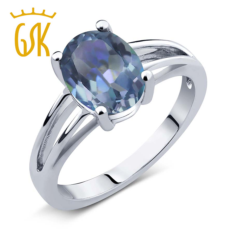 1.80 Ct Oval Cassiopeia Mystic Topaz 925 Sterling Silver Ring<br><br>Aliexpress