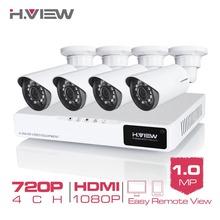 H.View 4CH CCTV System 720P HDMI AHD CCTV DVR 4PCS 1.0 MP IR Outdoor Security Camera 1200 TVL Camera Surveillance System