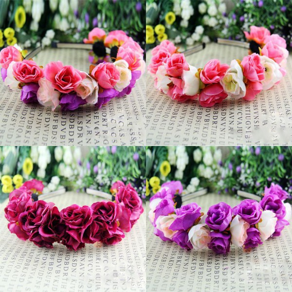 Rose Flower Crown Headbands for Women Wedding Festival Double Row Floral Garland Hairbands(China (Mainland))