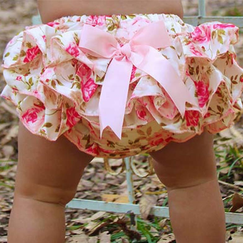 Chiffon Loose Ruffle Short Jeans Pretty Bow Summer Unisex Mid Waist Bloomers Print Baby Clothing Suit Children