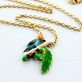 XQ Free shipping 2015 European and American fashion jewelry short pine leaves the female bird Necklace