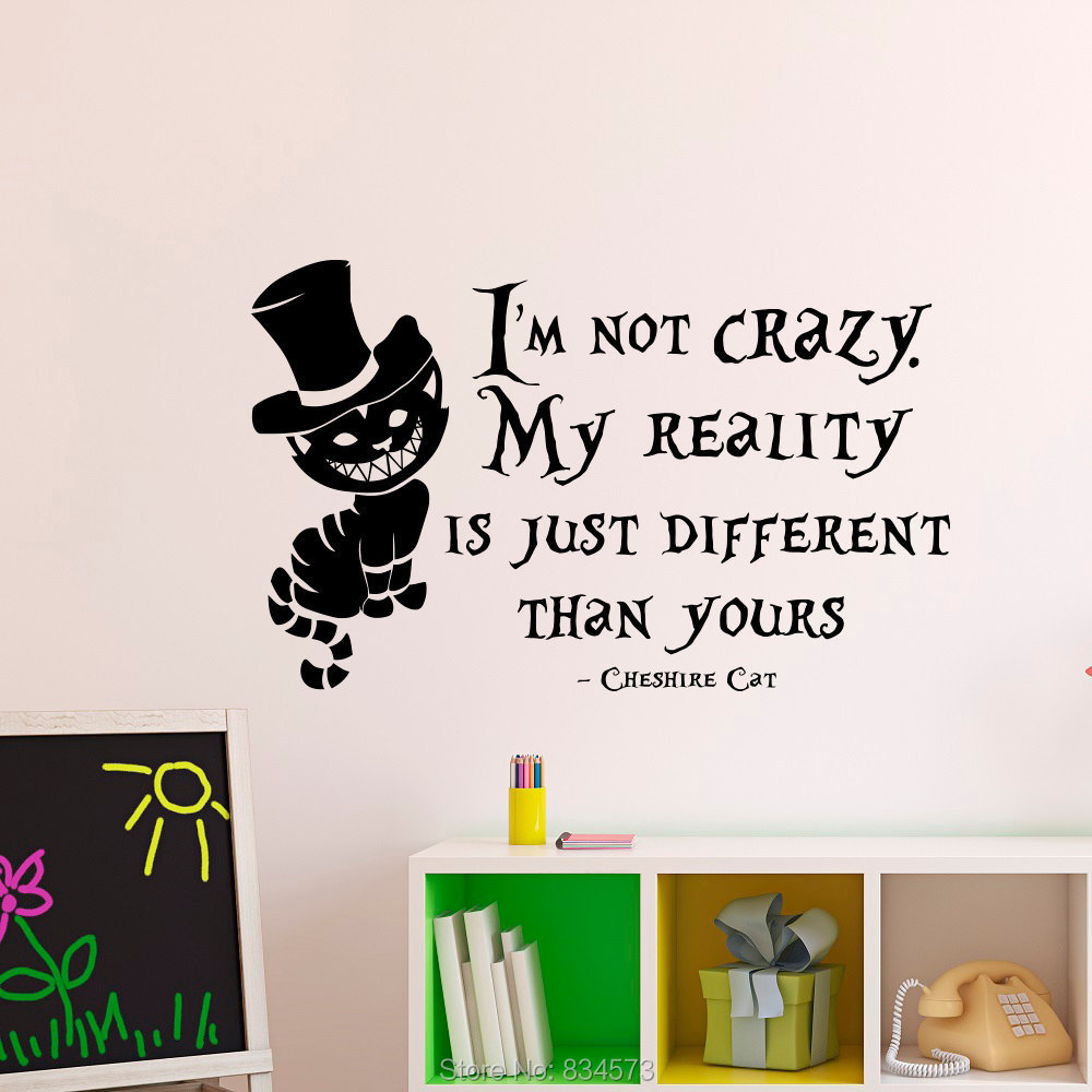 Buy Alice In Wonderland Cheshire Cat Quote Wall Art Sticker Decal Home