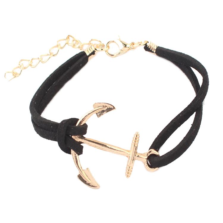 18k gold bracelet fashion woman hot Korean velvet woven Anchor bracelet 98119(China (Mainland))