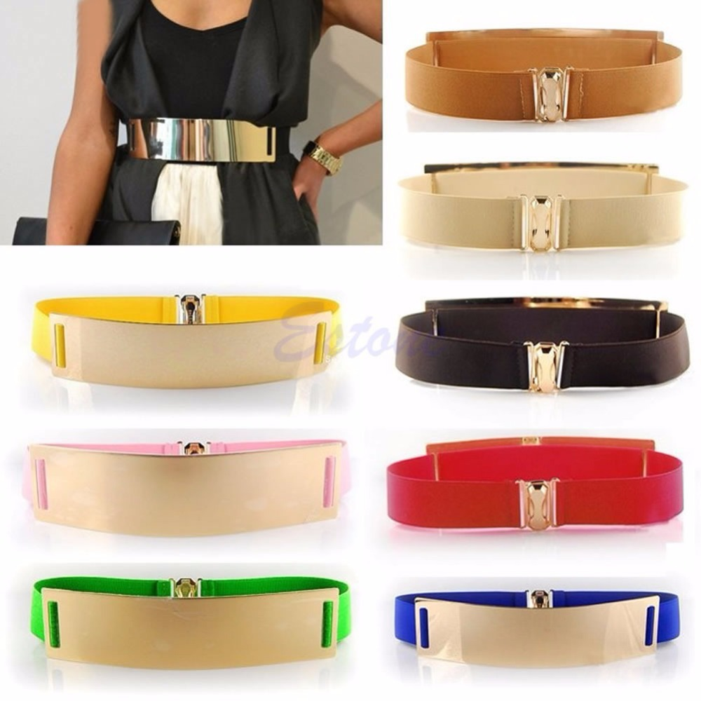 1 PC Women Gold Metal Bling Mirror Plate Waist Stretch Elastic Sexy Belt Wide Band(China (Mainland))