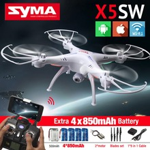 SYMA X5SW FPV Drone RC Quadcopter with HD WIFI Camera Dron 2.4G 6-Axis Drones RC Helicopter with 5 Battery + 2 Motor +5in1 Cable