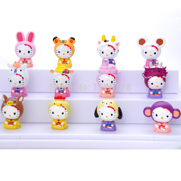 12Pcs/set Lovely Hello kitty PVC Collection Action Figure Model Toys 5cm Chinese zodiac KT cat Free shipping(China (Mainland))