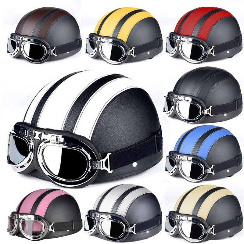 Hot Sell 2016 Brown Synthetic Leather vintage Motorcycle Motorbike Vespa Open Face Half Motor scooter Helmets & Visor & Goggles(China (Mainland))