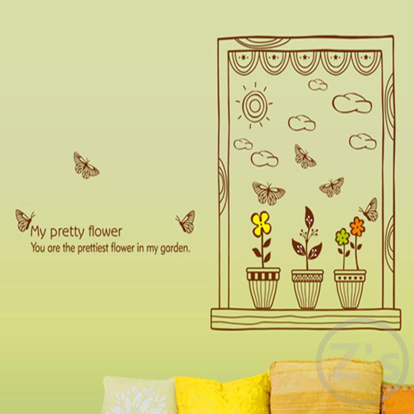 Curtain wall stickers pretty flower home decor garden ...