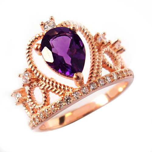 Fashionable crown 925 sterling silver ring, wedding ring women, genuine amethystal jewelry - CoLife Jewelry store