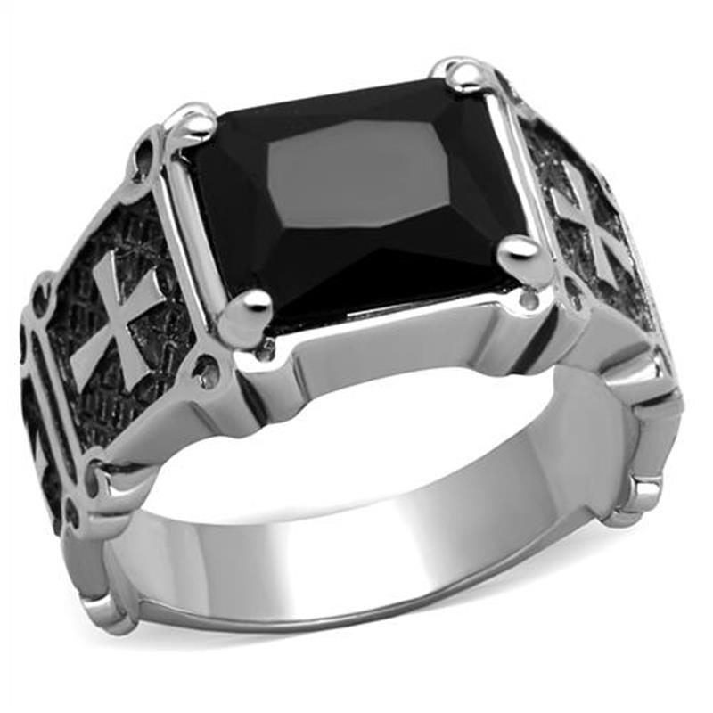 Classic Cross Men's Ring Stainless Steel With Square Black Stone Vintage Engagement Rings High Polished Gothic Style Bijoux(China (Mainland))