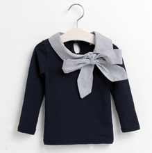 2016 Fashion New Summer Clothes Girls Dark Blue Sweatshirt With Bow Kids Clothing Bottoming Shirt Costume For Children As Gift