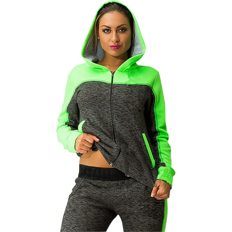 Autumn and Winter Tracksuit for Women Zip-up Collision Color Stitching Pants Hoodies Sport Suit Womens Set Female Clothing(China (Mainland))