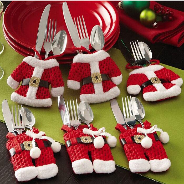 Kimisohand 6Pcs Christmas Decorations Santa Silverware Holders Pockets Dinner Decor Freeshipping(China (Mainland))