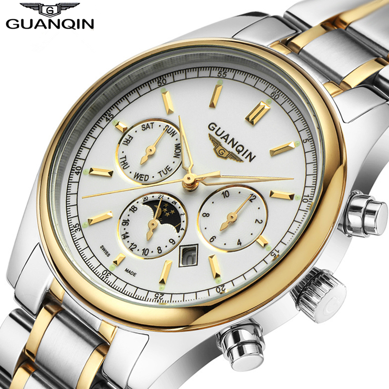 2015 GUANQIN Quartz Watch Leather Strap Watches Men Top Brand Luxury Waterproof Gold Mens Wristwatches Relogio Masculino Clock<br><br>Aliexpress