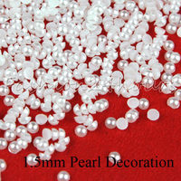 New 10000pcs 1.5mm White Color Half Pearls Beads Flatback Round Bead For Nail Decoration Free Shipping