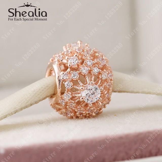2015 осень 14 К розового золота снежинка подвески с CZ 925 ажурные проложить бусины ювелирных украшений подходят DIY браслеты