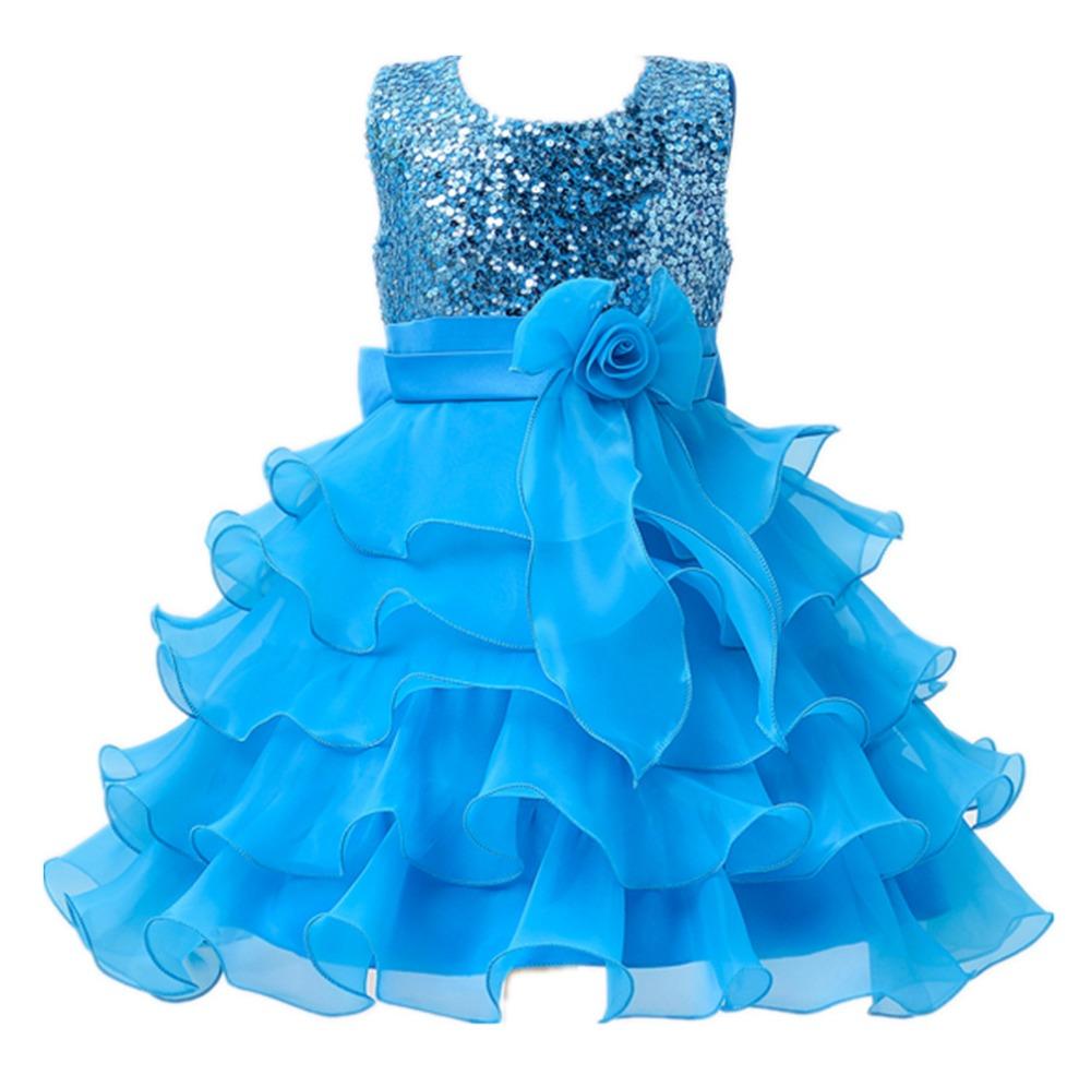 2 to 13 Years Girls Clothes Girl Dress Purple Blue Red Dress Princess Sress Roupas Infantis Menina Flower Girls Sequined dresses(China (Mainland))