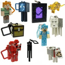 10pcs Minecraft Keychain Figures lot toys Minecraft sword/steve /zombie Key Ring Anime online game Backpack Creeper Key chain