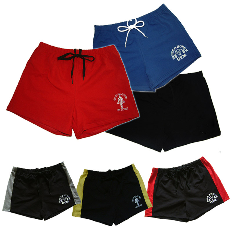 men's gym shorts with Gold & powerhouse, fitness & bodybuilding & workout shorts,100%cotton high quality musculation(China (Mainland))