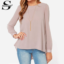 Sheinside Ladies Office Shirts 2015 New Arrival Women Clothing Vintage European Style Nude Long Sleeve Pleated Back Blouse(China (Mainland))
