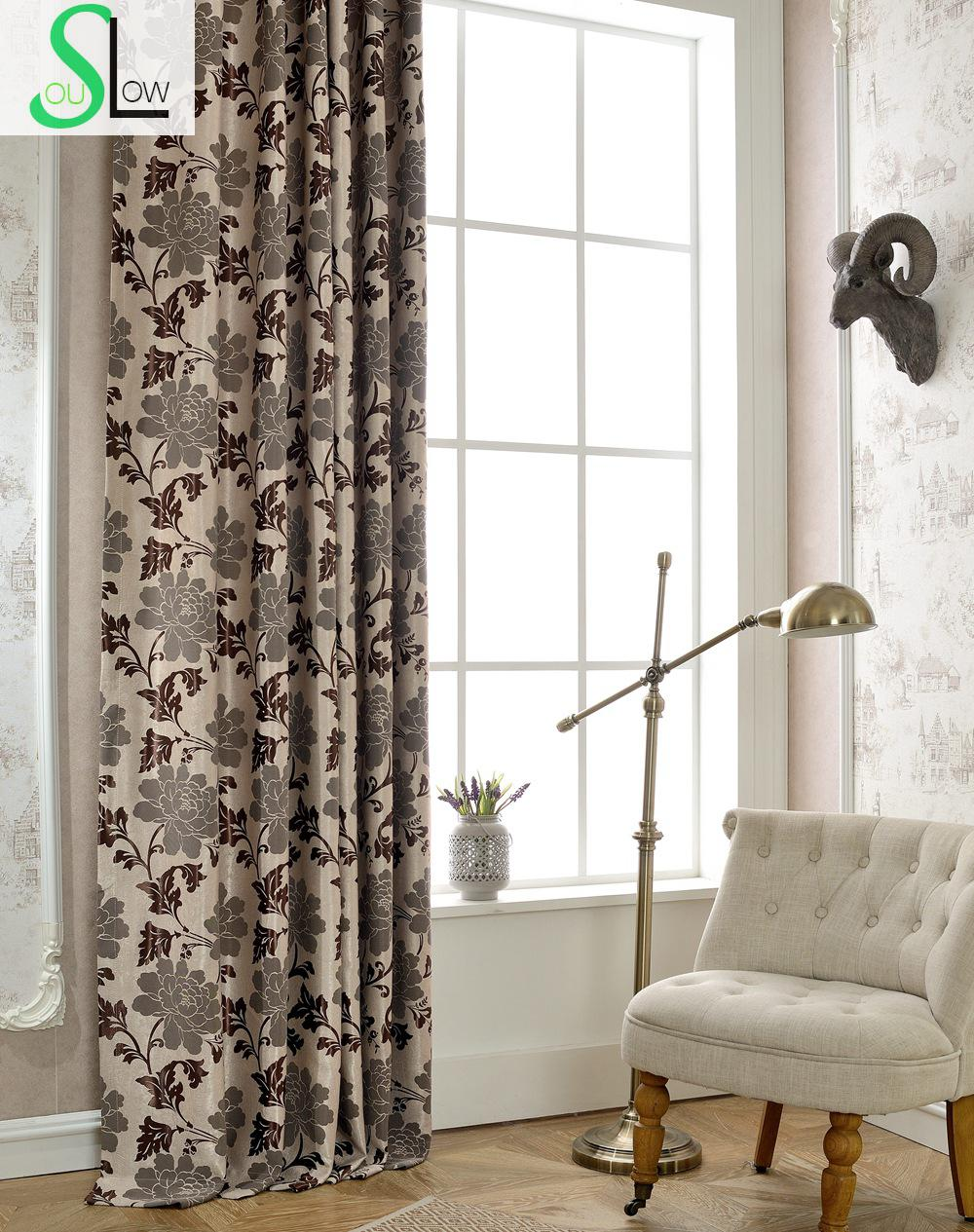 Heavy color peony shade jacquard floral blackout curtains for Cortinas black out