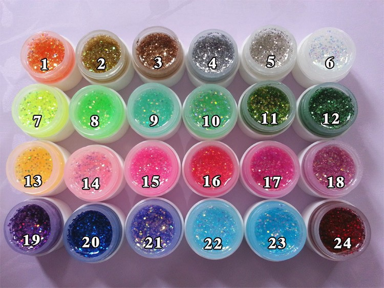 Fluorescent Glitter Color UV Gel Builder Acrylic Nail Art Shiny Polish Individually Selection - Attractive house store